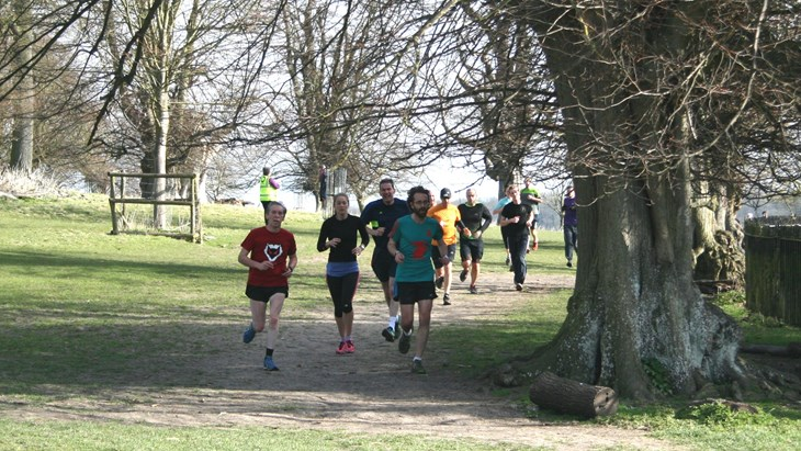 Running at Wimpole Hall parkland